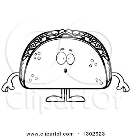 Lineart Clipart of a Cartoon Black and White Surprised Taco Food Mascot Character Gasping - Royalty Free Outline Vector Illustration by Cory Thoman