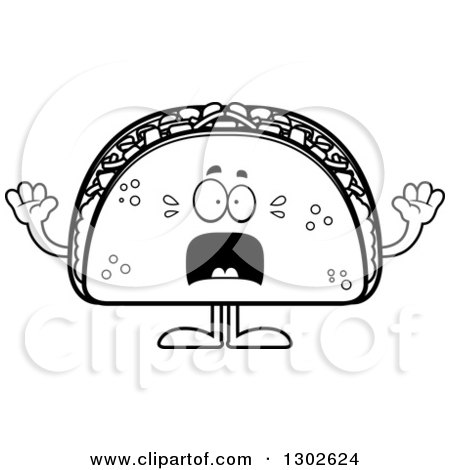 Lineart Clipart of a Cartoon Black and White Scared Taco Food Mascot Character Screaming - Royalty Free Outline Vector Illustration by Cory Thoman