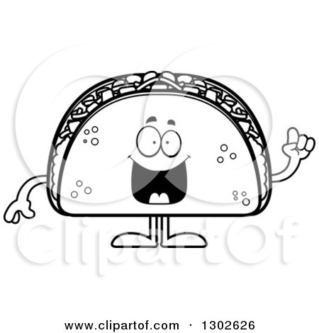 Lineart Clipart of a Cartoon Black and White Smart Taco Food Mascot Character with an Idea - Royalty Free Outline Vector Illustration by Cory Thoman