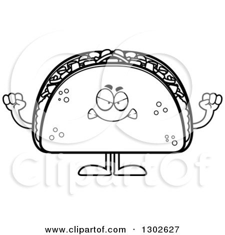 Lineart Clipart of a Cartoon Black and White Mad Taco Food Mascot Character Holding up Fists - Royalty Free Outline Vector Illustration by Cory Thoman