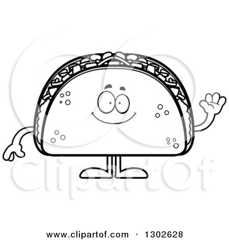 Lineart Clipart of a Cartoon Black and White Happy Friendly Taco Food Mascot Character Waving - Royalty Free Outline Vector Illustration by Cory Thoman