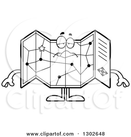 Lineart Clipart of a Cartoon Black and White Sick or Drunk Road Map Atlas Character - Royalty Free Outline Vector Illustration by Cory Thoman
