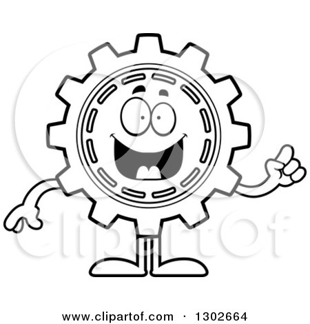 Cartoon Black And White Sick Gear Cog Wheel Character 1302667 on gear cog clip art