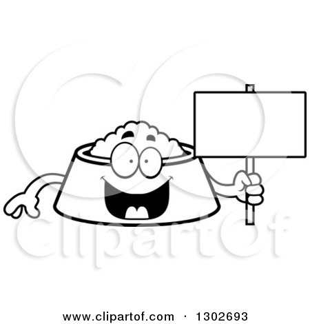Lineart Clipart of a Cartoon Black and White Happy Pet Food Bowl Dish Character Holding a Blank Sign - Royalty Free Outline Vector Illustration by Cory Thoman