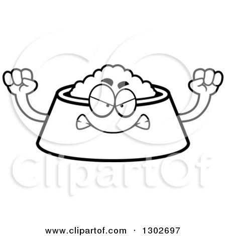 Lineart Clipart of a Cartoon Black and White Mad Pet Food Bowl Dish Character Holding up Fists - Royalty Free Outline Vector Illustration by Cory Thoman