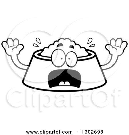 Lineart Clipart of a Cartoon Black and White Scared Pet Food Bowl Dish Character Screaming - Royalty Free Outline Vector Illustration by Cory Thoman