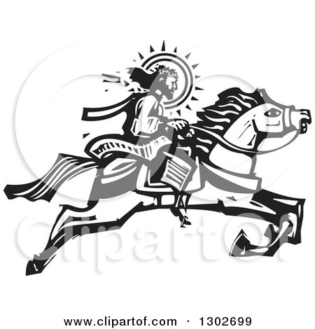 Clipart of a Black and White Woodcut Jesus Christ Riding a Horse - Royalty Free Vector Illustration by xunantunich