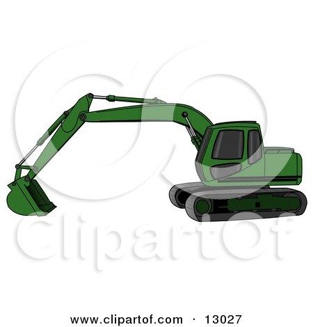 Green Trackhoe Excavator Posters, Art Prints