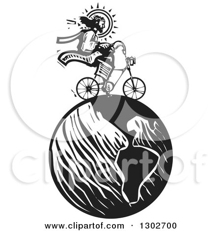 Clipart of a Black and White Woodcut Jesus Christ Riding a Bicycle on Earth - Royalty Free Vector Illustration by xunantunich