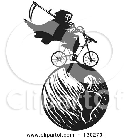 Clipart of a Black and White Woodcut Grim Reaper Riding a Bicycle on Earth - Royalty Free Vector Illustration by xunantunich