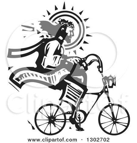 Clipart of a Black and White Woodcut Jesus Christ Riding a Bicycle - Royalty Free Vector Illustration by xunantunich