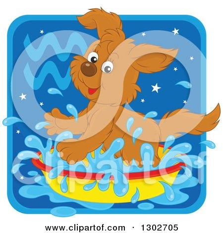 Clipart of a Playful Splashing Aquarius Astrology Zodiac Puppy Dog Icon - Royalty Free Vector Illustration by Alex Bannykh