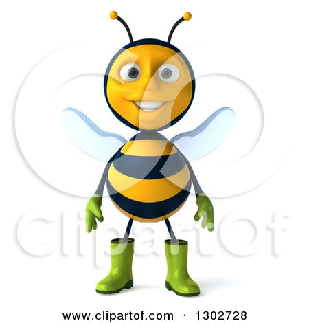 Clipart of a 3d Happy Gardener Bee - Royalty Free Illustration by Julos