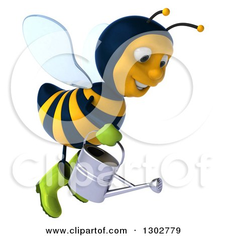 Clipart of a 3d Happy Gardener Bee Flying to the Right with a Watering Can - Royalty Free Illustration by Julos