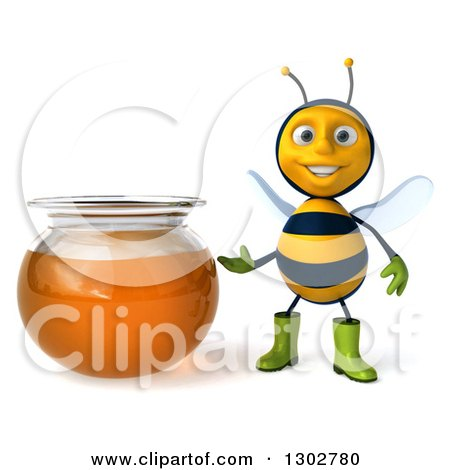 Clipart of a 3d Happy Gardener Bee Presenting a Honey Jar - Royalty Free Illustration by Julos