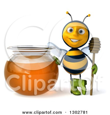 Clipart of a 3d Happy Gardener Bee Holding a Honey Dipper by a Jar - Royalty Free Illustration by Julos