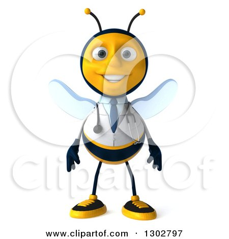 Clipart of a 3d Happy Bee Doctor - Royalty Free Illustration by Julos