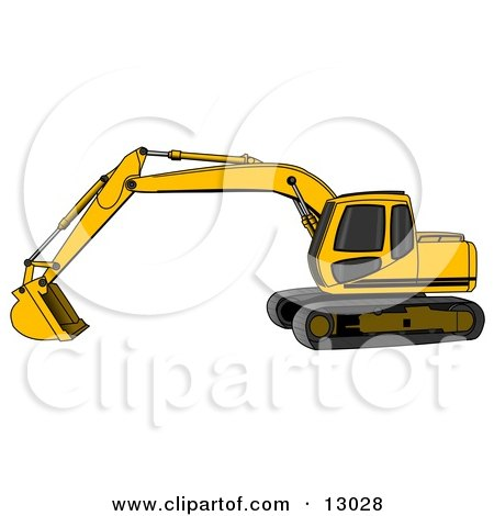 Yellow Trackhoe Excavator Posters, Art Prints