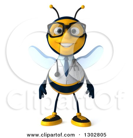 Clipart of a 3d Happy Bespectacled Bee Doctor - Royalty Free Illustration by Julos