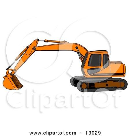 Orange Trackhoe Excavator Posters, Art Prints