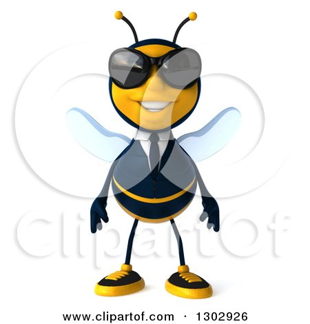Clipart of a 3d Happy Business Bee Wearing Sunglasses - Royalty Free Illustration by Julos