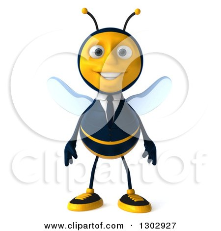 Clipart of a 3d Happy Business Bee - Royalty Free Illustration by Julos
