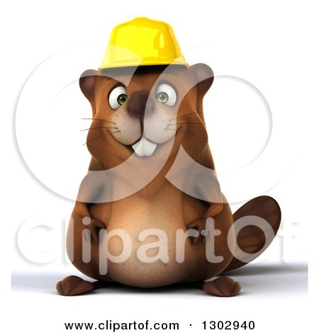 Clipart of a 3d Happy Construction Beaver - Royalty Free Illustration by Julos