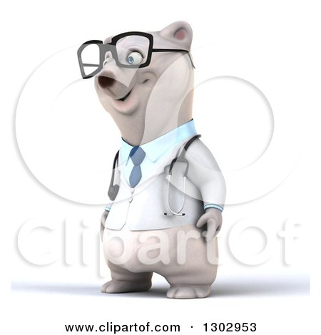 Clipart of a 3d Happy Bespectacled Polar Bear Doctor or Veterinarian Facing Left - Royalty Free Illustration by Julos