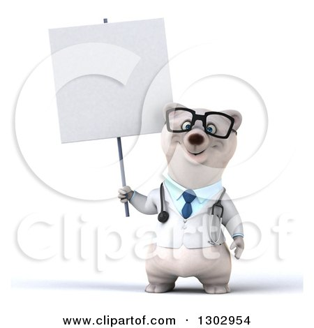 Clipart of a 3d Happy Bespectacled Polar Bear Doctor or Veterinarian Holding a Blank Sign - Royalty Free Illustration by Julos