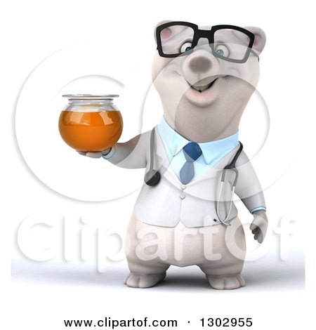 Clipart of a 3d Happy Bespectacled Polar Bear Doctor or Veterinarian Holding a Honey Jar - Royalty Free Illustration by Julos