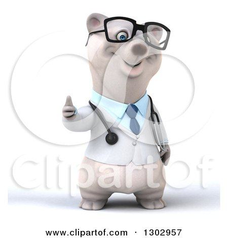 Clipart of a 3d Happy Bespectacled Polar Bear Doctor or Veterinarian Giving a Thumb up - Royalty Free Illustration by Julos