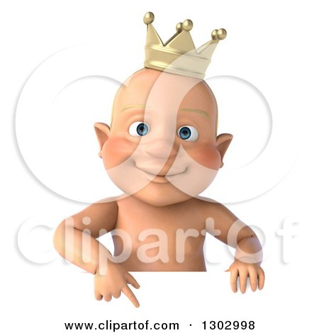 Clipart of a 3d Bald White Baby Boy Wearing a Crown Pointing down over a Sign - Royalty Free Illustration by Julos