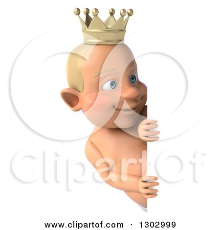 Clipart of a 3d Bald White Baby Boy Wearing a Crown and Looking Around a Sign - Royalty Free Illustration by Julos
