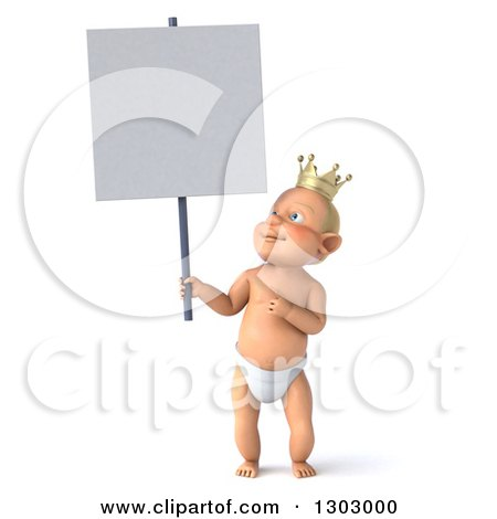 Clipart of a 3d Standing Bald White Baby Boy Wearing a Crown, Holding and Pointing to a Blank Sign - Royalty Free Illustration by Julos