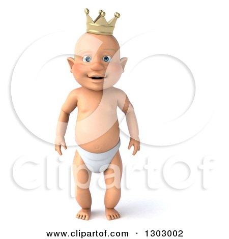 Clipart of a 3d Standing Bald White Baby Boy Wearing a Crown - Royalty Free Illustration by Julos