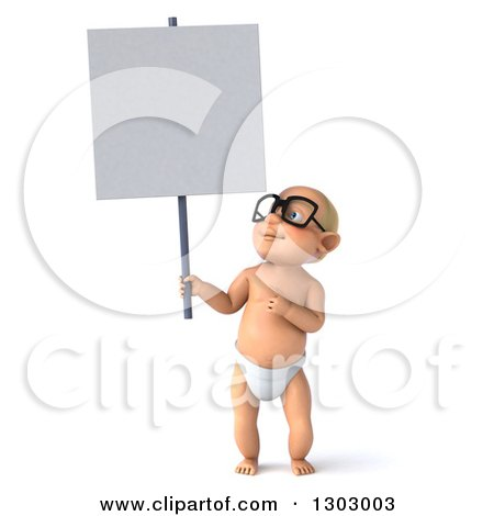 Clipart of a 3d Bespectacled White Baby Boy Holding and Pointing to a Blank Sign - Royalty Free Illustration by Julos