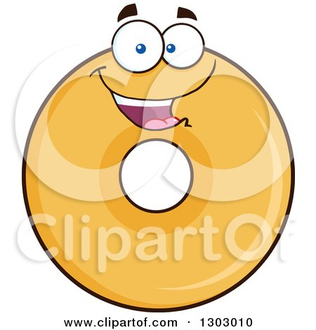 Clipart of a Cartoon Happy Round Glazed or Plain Donut Character - Royalty Free Vector Illustration by Hit Toon