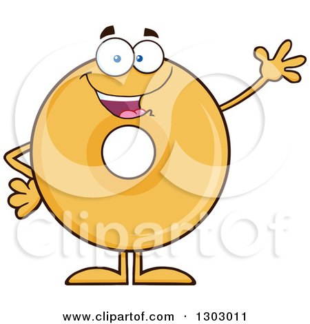 Clipart of a Cartoon Friendly Waving Round Glazed or Plain Donut Character - Royalty Free Vector Illustration by Hit Toon