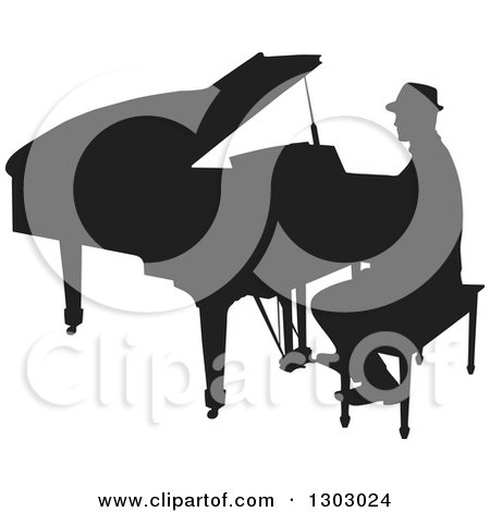 Clipart of a Black Silhouetted Piano Man Musician Playing - Royalty Free Vector Illustration by Maria Bell