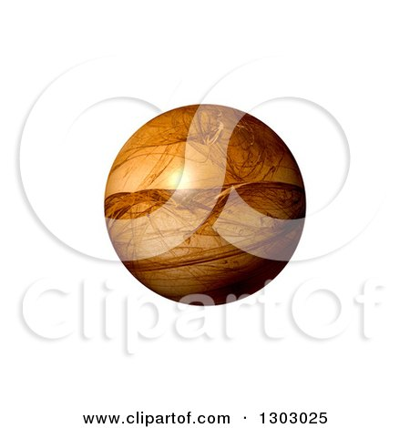 Clipart of a 3d Brown Patterned Fractal Globe on White - Royalty Free Illustration by oboy