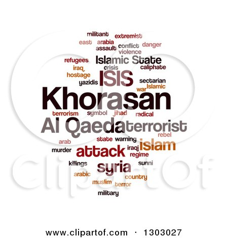 Clipart of an ISIS and Al Qaeda Word Collage over White - Royalty Free Illustration by oboy