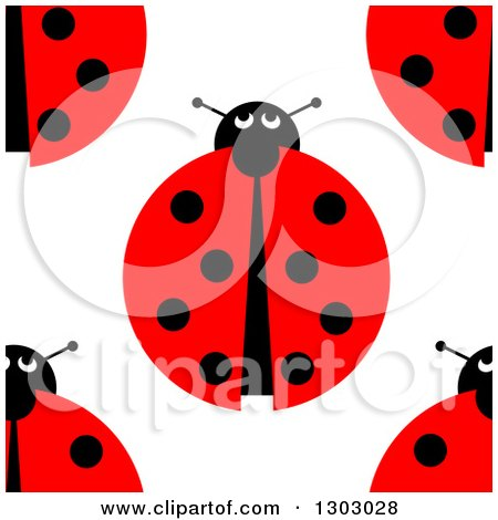 Clipart of a Seemless Aerial View of Ladybugs Background Pattern - Royalty Free Illustration by oboy