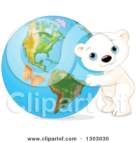 Clipart of a Cute Polar Bear Cub Hugging Planet Earth, with an Orange Butterfly - Royalty Free Vector Illustration by Pushkin