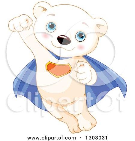 Clipart of a Cute Baby Polar Bear Cub Super Hero Flying - Royalty Free Vector Illustration by Pushkin