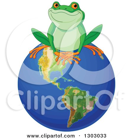 Clipart of a Cute Happy Frog Sitting on Top of Planet Earth - Royalty Free Vector Illustration by Pushkin
