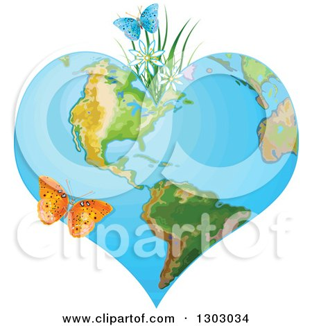 Clipart of a Heart Shaped Planet Earth with Spring Flowers and Butterflies - Royalty Free Vector Illustration by Pushkin