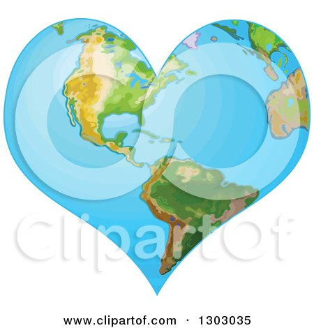 Clipart of a Heart Shaped Planet Earth - Royalty Free Vector Illustration by Pushkin
