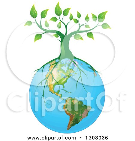 Clipart of a Green Tree with Roots Spreading on Planet Earth - Royalty Free Vector Illustration by Pushkin