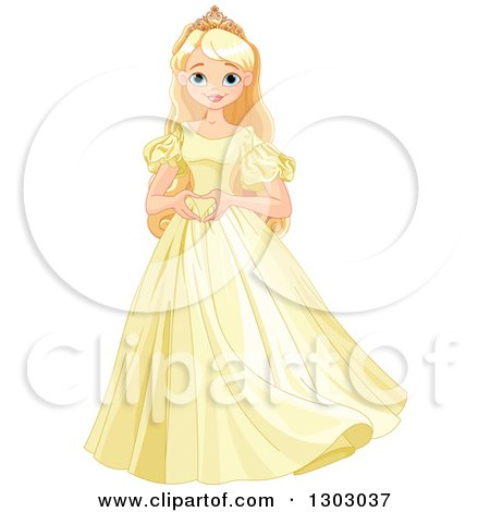 Clipart of a Happy Blond, Blue Eyed Caucasian Princess Standing in a Yellow Dress and Forming a Heart with Her Hands - Royalty Free Vector Illustration by Pushkin