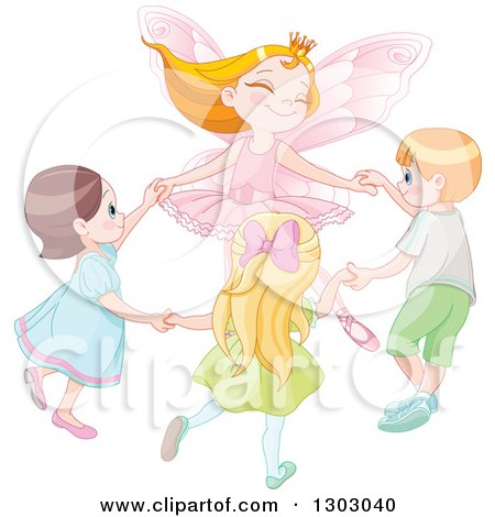 Clipart of a Pink Fairy Princess Holding Hands and Dancing with Caucasian Children - Royalty Free Vector Illustration by Pushkin